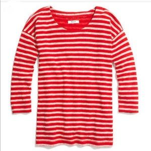 Madewell red and white stripe top